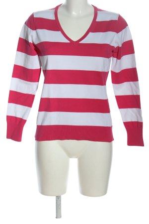 Tommy Hilfiger V-Ausschnitt-Pullover weiß-pink Allover-Druck Casual-Look