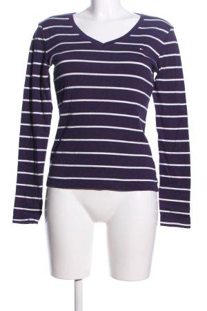 Tommy Hilfiger V-Ausschnitt-Shirt blau-weiß Streifenmuster Casual-Look