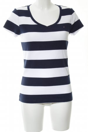 Tommy Hilfiger V-Neck Shirt white-blue striped pattern casual look