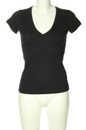 Tommy Hilfiger V-Ausschnitt-Shirt schwarz Casual-Look
