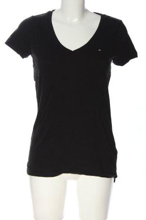 Tommy Hilfiger V-Ausschnitt-Shirt schwarz Schriftzug gestickt Casual-Look
