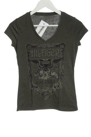 Tommy Hilfiger V-Ausschnitt-Shirt khaki Motivdruck Casual-Look
