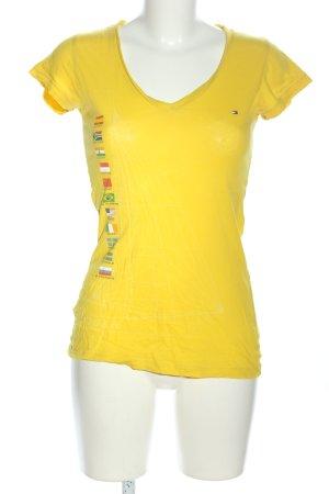 Tommy Hilfiger V-Ausschnitt-Shirt blassgelb Motivdruck Casual-Look