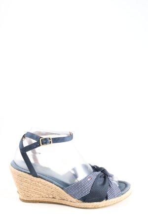 Tommy Hilfiger Wedges Sandaletten blau-weiß Punktemuster Casual-Look