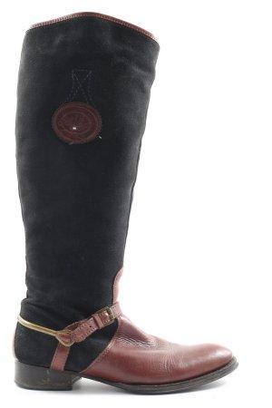 Tommy Hilfiger Wysokie kozaki czarny-brązowy Nadruk z motywem W stylu casual