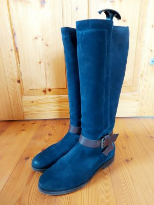Tommy Hilfiger Wide Calf Boots brown-dark blue leather
