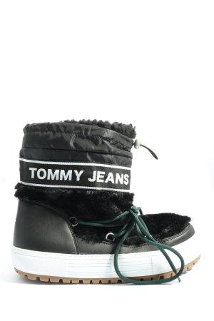 Tommy Hilfiger Winter-Stiefeletten schwarz-weiß Schriftzug gedruckt Casual-Look