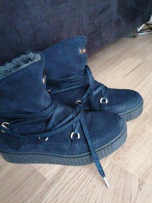 Tommy Hilfiger Bottes de neige bleu foncé laine