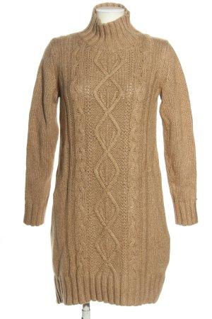 Tommy Hilfiger Wełniana sukienka brązowy Warkoczowy wzór W stylu casual