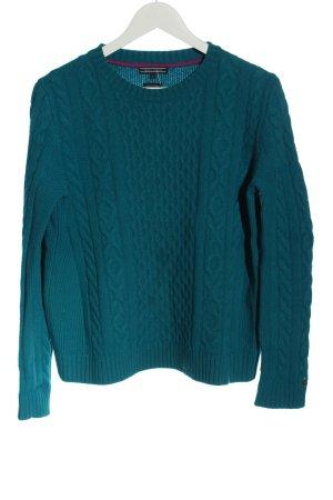 Tommy Hilfiger Wollen trui blauw kabel steek casual uitstraling
