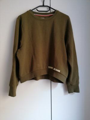 Tommy Jeans cropped grün XS 34 khaki Pullover Sweater Hilfiger