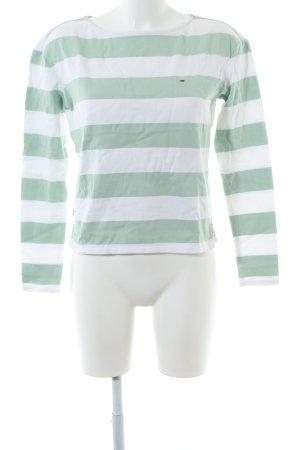 Tommy Jeans Longsleeve grün-weiß Streifenmuster Casual-Look