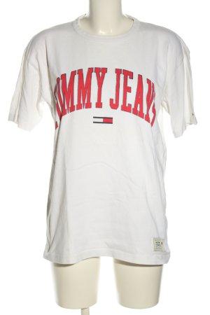 Tommy Jeans Oversized Shirt weiß-rot Schriftzug gedruckt Casual-Look