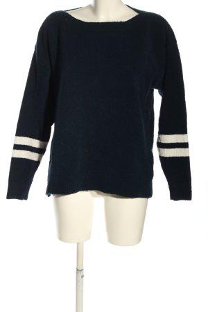 Tommy Jeans Rundhalspullover blau-creme Streifenmuster Casual-Look