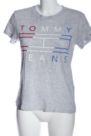 Tommy Jeans T-Shirt hellgrau meliert Casual-Look
