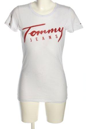 Tommy Jeans T-Shirt weiß-rot Schriftzug gedruckt Casual-Look