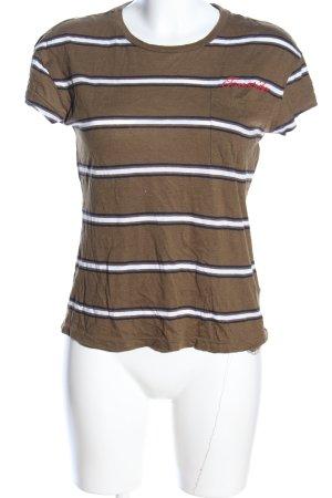 Tommy Jeans T-Shirt braun-weiß Streifenmuster Casual-Look