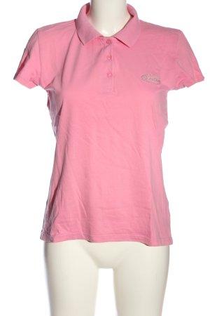 Tomster USA Polo-Shirt pink-silberfarben Schriftzug gedruckt Casual-Look