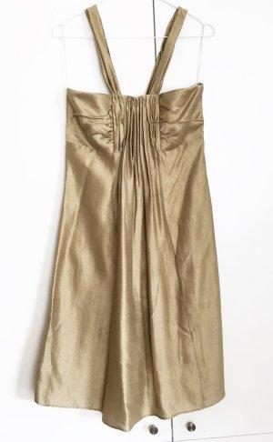 * TONI GARD * Trägerkleid 100% Seide braun-beige gold Gr 36 S