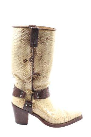 Tony Mora Buty w stylu western kremowy-brązowy Zwierzęcy wzór