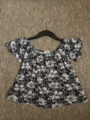 Urban Outfitters Top sin hombros negro-blanco