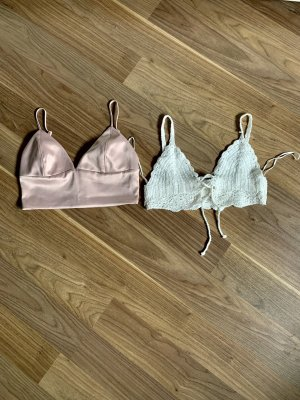 Haut bustier blanc-or rose