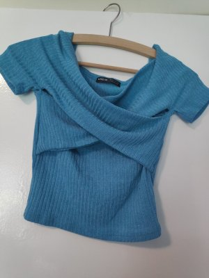 SheIn Wraparound Shirt steel blue