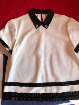 Raoul Short Sleeved Blouse white-black