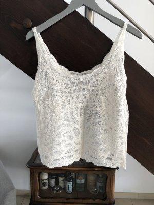 Zara Koronkowy top w kolorze białej wełny