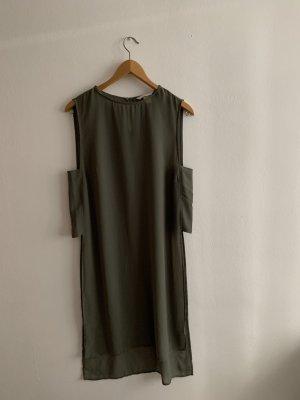 H&M Conscious Collection Haut en soie gris vert-kaki