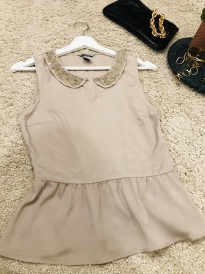 H&M Frill Top beige polyester