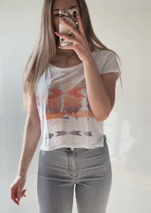 American Eagle Outfitters Top abricot-blanc