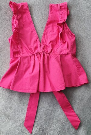 Trf by Zara Top z falbankami różowy