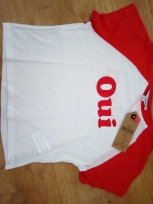 Tally Weijl Crop-top blanc-rouge coton