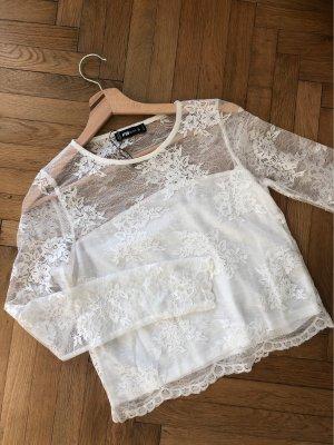FB Sister Top o skróconym kroju w kolorze białej wełny-biały
