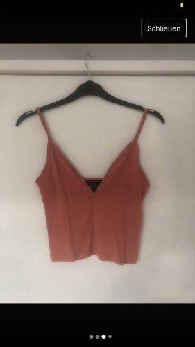 Topshop Prążkowana koszulka łosowiowy-jasnoczerwony