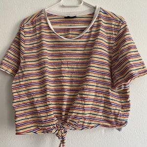 Topshop Camicia cropped multicolore