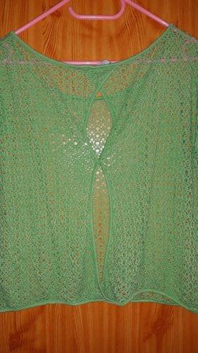 17&co Top en maille crochet vert clair