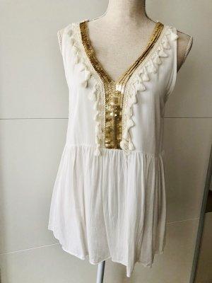 new collection Top línea A blanco-color oro