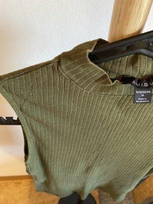 Amisu Koszulka o kroju podkreślającym sylwetkę khaki