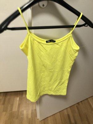 Zara Spaghetti Strap Top neon yellow