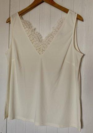 H&M Koronkowy top w kolorze białej wełny