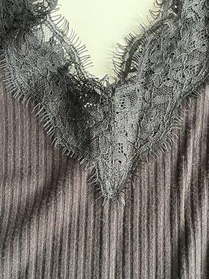 Amisu Koronkowy top czarny