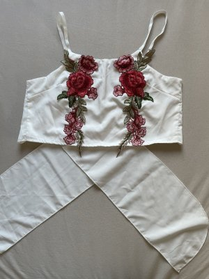 Top di merletto bianco-rosso