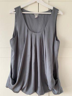 H&M Silk Top silver-colored