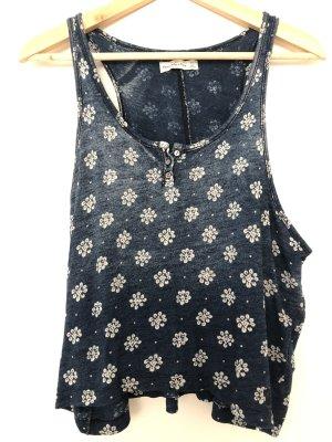 Abercrombie & Fitch Basic topje donkerblauw-wit Katoen