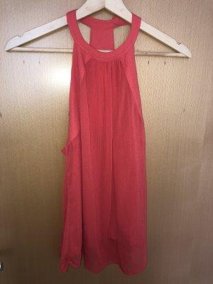 H&M Top z dekoltem typu halter jasnoczerwony
