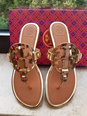 Tory Burch Toe-Post sandals gold-colored-cognac-coloured leather