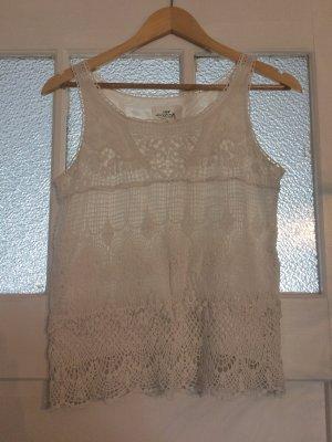 H&M Top en maille crochet blanc-blanc cassé