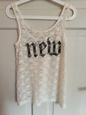 H&M Kanten topje wit-zwart